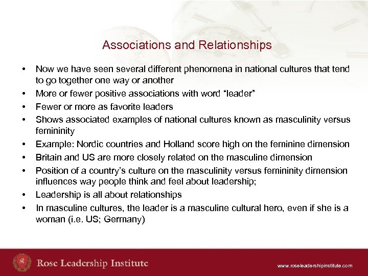 Associations and Relationships • • • Now we have seen several different phenomena in