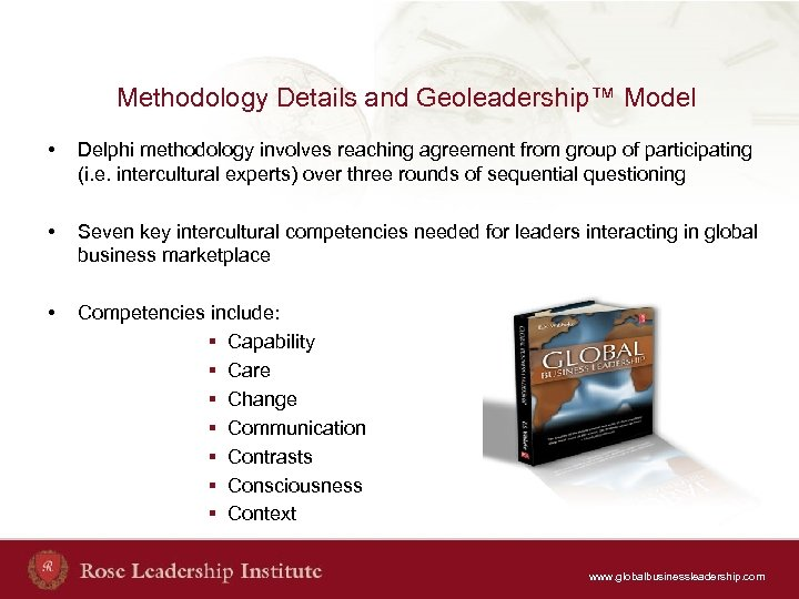 Methodology Details and Geoleadership™ Model • Delphi methodology involves reaching agreement from group of