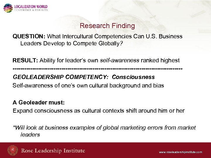 Research Finding QUESTION: What Intercultural Competencies Can U. S. Business Leaders Develop to Compete