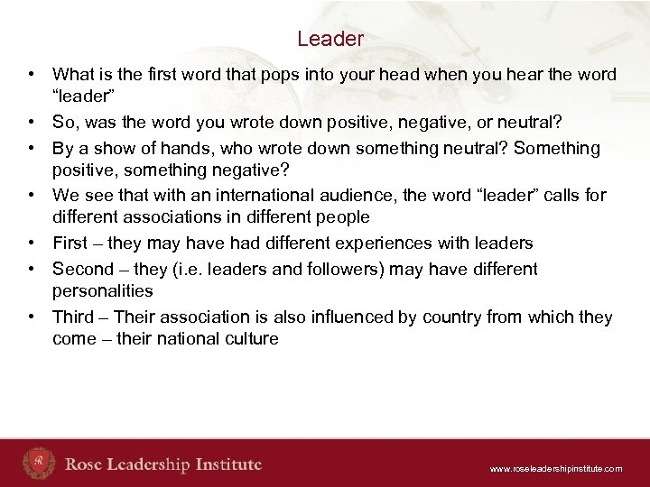 Leader • What is the first word that pops into your head when you