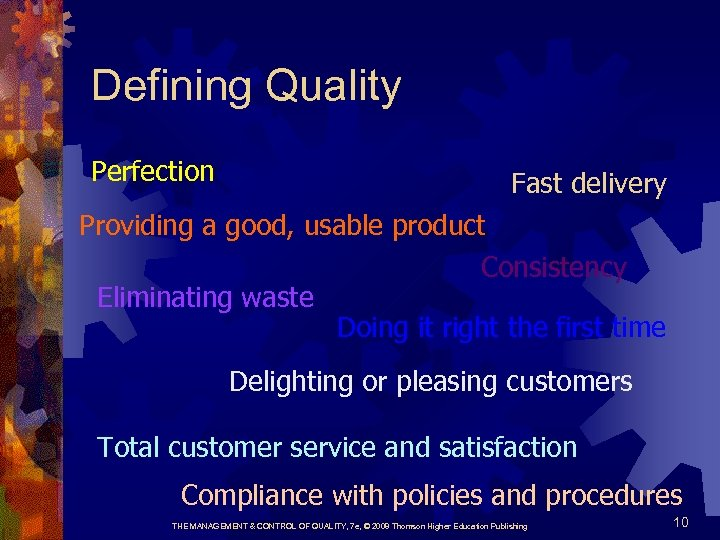 Defining Quality Perfection Fast delivery Providing a good, usable product Consistency Eliminating waste Doing