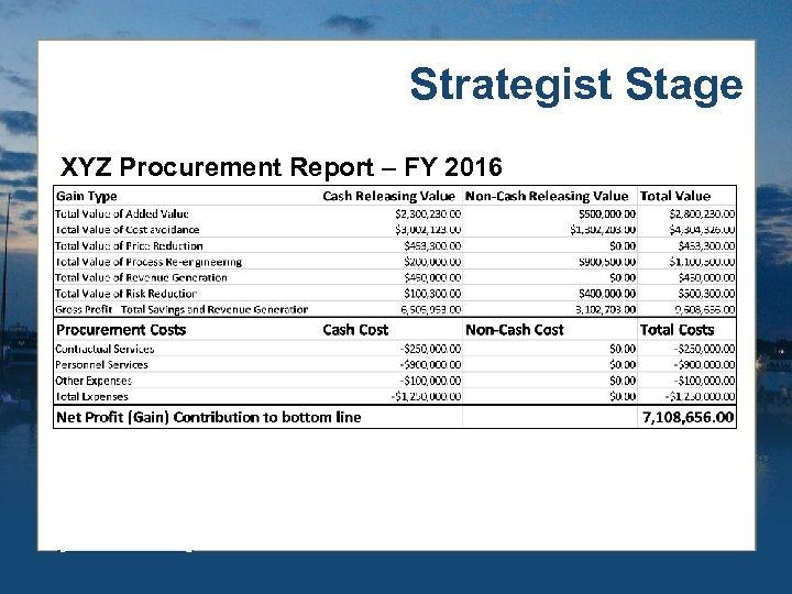 Strategist Stage XYZ Procurement Report – FY 2016