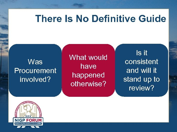 There Is No Definitive Guide Was Procurement involved? What would have happened otherwise? Is