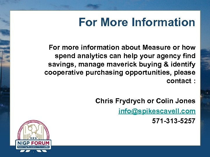 For More Information For more information about Measure or how spend analytics can help