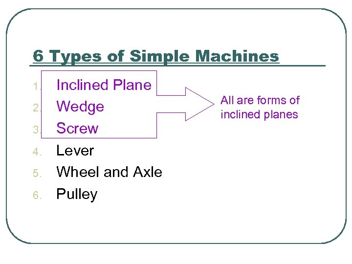 6 Types of Simple Machines 1. 2. 3. 4. 5. 6. Inclined Plane Wedge