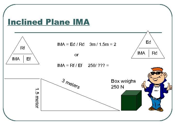 Inclined Plane IMA = Ed / Rd Rf IMA or Ef IMA = Rf