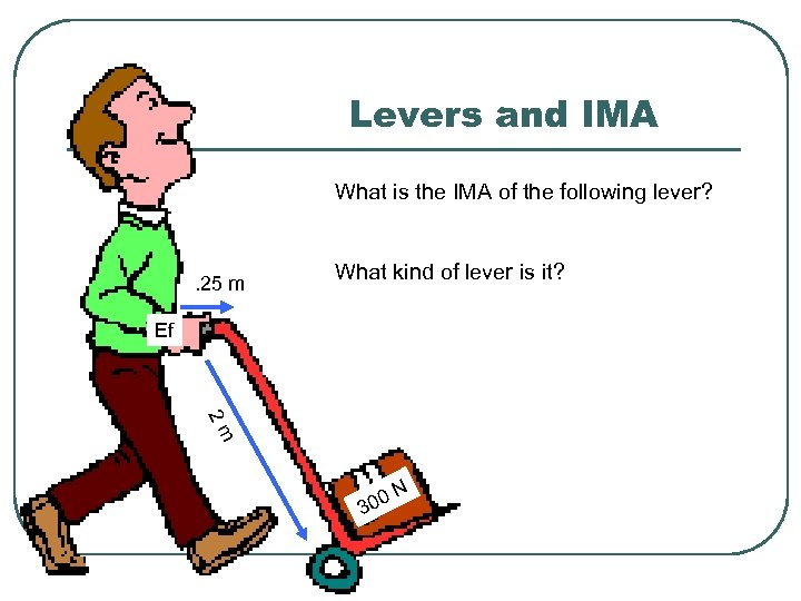 Levers and IMA What is the IMA of the following lever? . 25 m