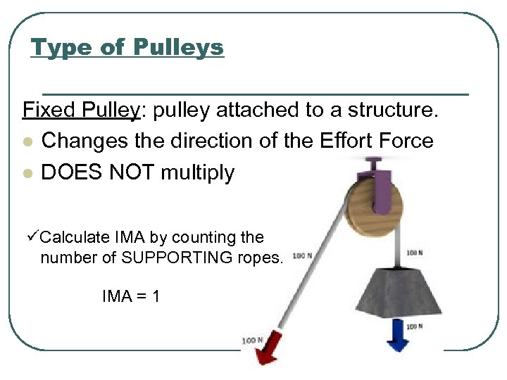 Type of Pulleys Fixed Pulley: pulley attached to a structure. l Changes the direction