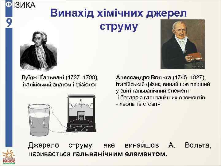 Винахід хімічних джерел струму Луїджі Ґальвані (1737– 1798), італійський анатом і фізіолог Алессандро Вольта