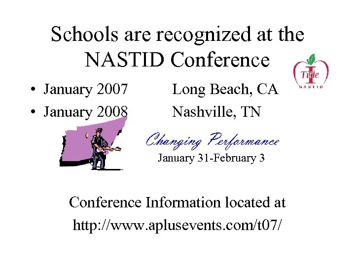 Schools are recognized at the NASTID Conference • January 2007 • January 2008 Long