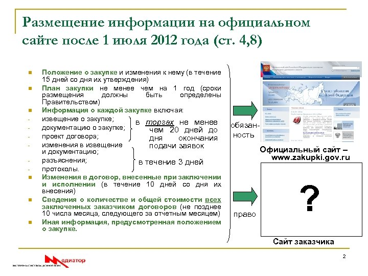 Размещение информации на официальном сайте после 1 июля 2012 года (ст. 4, 8) n