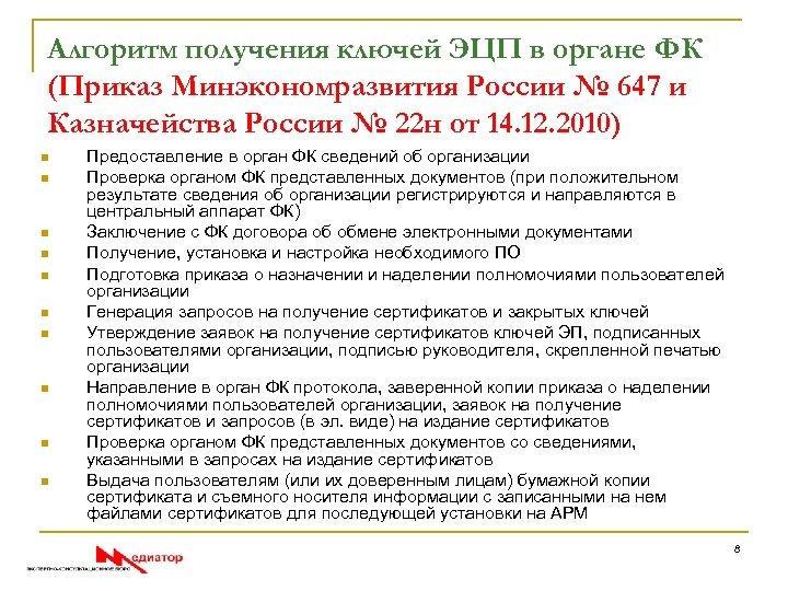 Алгоритм получения ключей ЭЦП в органе ФК (Приказ Минэкономразвития России № 647 и Казначейства