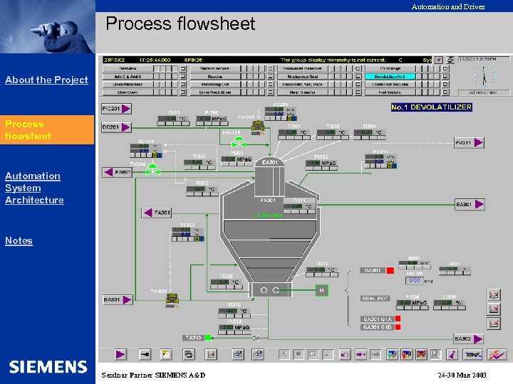 Automation and Drives Process flowsheet About the Project Process Flow flowsheet Sheet Automation System