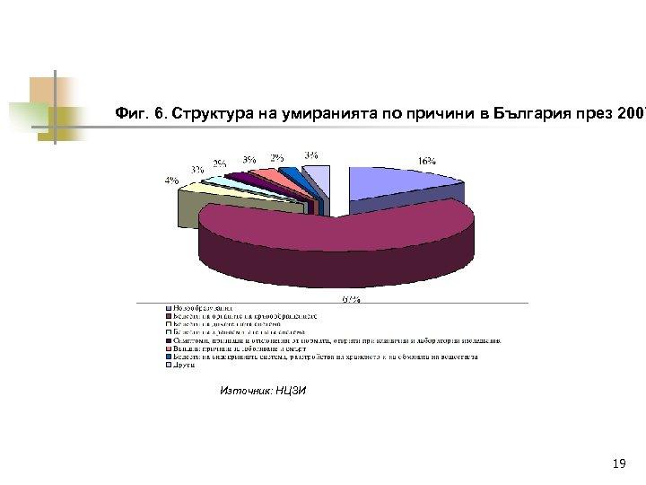 Фиг. 6. Структура на умиранията по причини в България през 2007 Източник: НЦЗИ 19