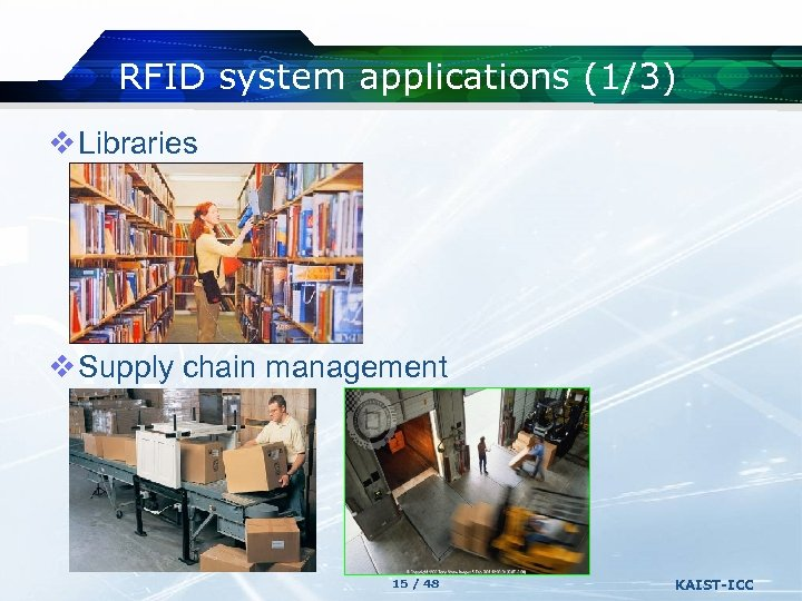RFID system applications (1/3) v Libraries v Supply chain management 15 / 48 KAIST-ICC