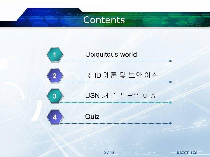 Contents 1 Ubiquitous world 2 RFID 개론 및 보안 이슈 3 USN 개론 및