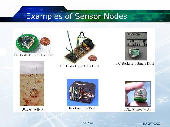 Examples of Sensor Nodes 35 / 48 KAIST-ICC