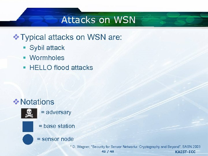 Attacks on WSN v Typical attacks on WSN are: § Sybil attack § Wormholes