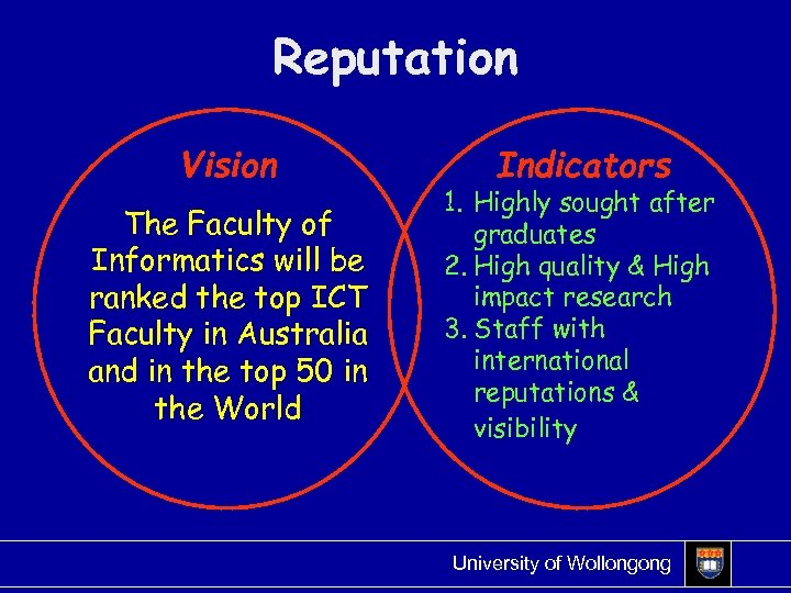 Reputation Vision The Faculty of Informatics will be ranked the top ICT Faculty in