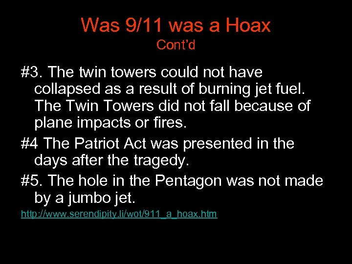 Was 9/11 was a Hoax Cont'd #3. The twin towers could not have collapsed