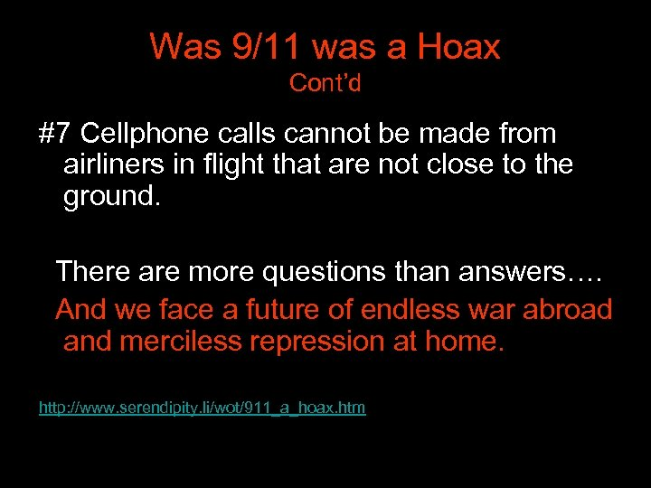 Was 9/11 was a Hoax Cont'd #7 Cellphone calls cannot be made from airliners