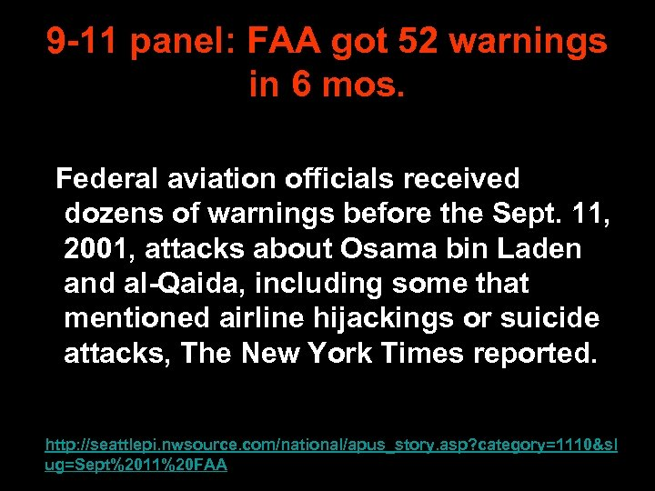 9 -11 panel: FAA got 52 warnings in 6 mos. Federal aviation officials received