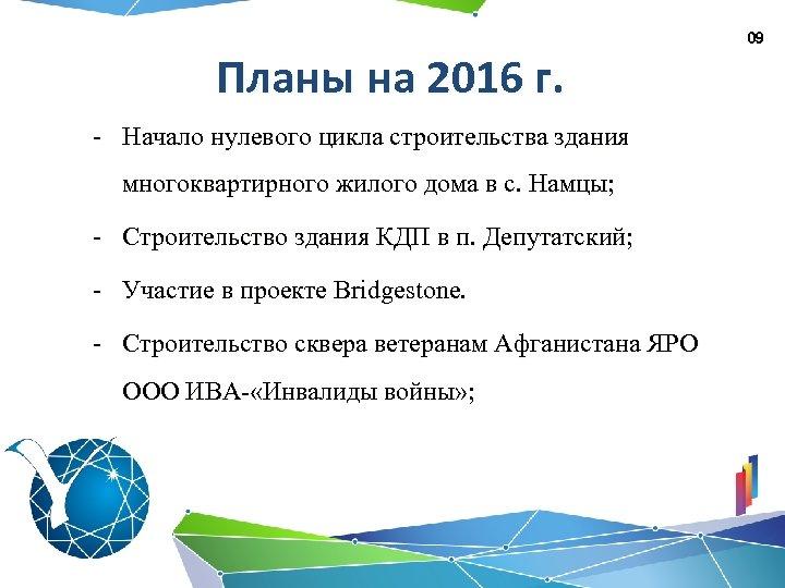 09 Планы на 2016 г. - Начало нулевого цикла строительства здания многоквартирного жилого дома