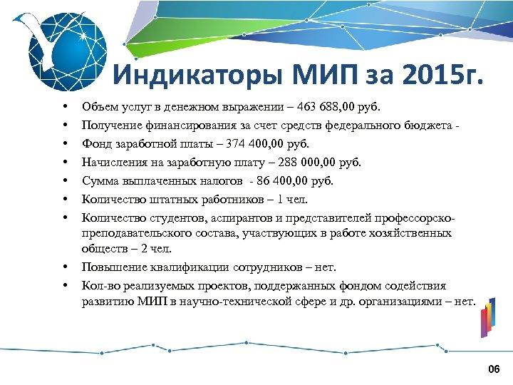 Индикаторы МИП за 2015 г. • • • Объем услуг в денежном выражении –
