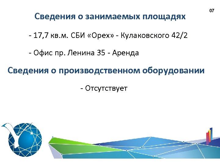 Сведения о занимаемых площадях - 17, 7 кв. м. СБИ «Орех» - Кулаковского 42/2