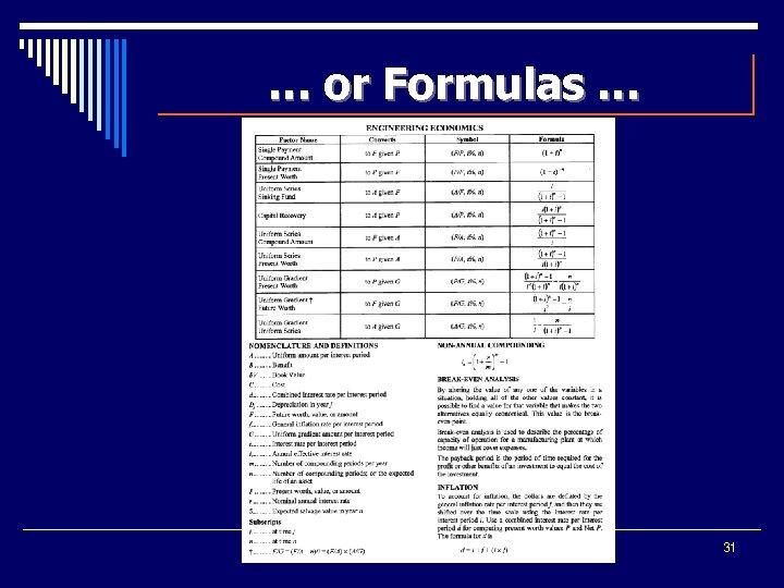 … or Formulas … 31