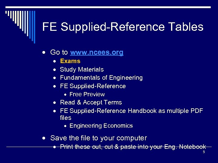 FE Supplied-Reference Tables · Go to www. ncees. org · · Exams Study Materials
