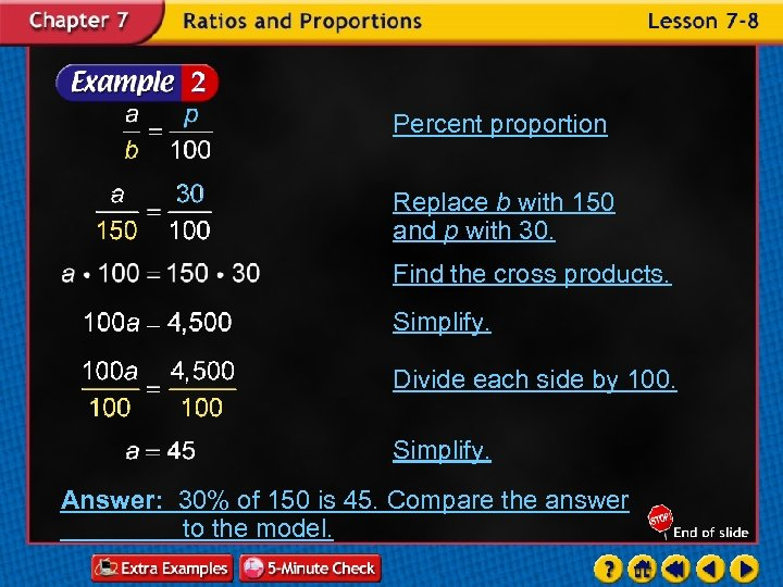 Percent proportion Replace b with 150 and p with 30. Find the cross products.
