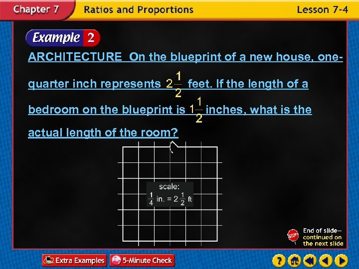 ARCHITECTURE On the blueprint of a new house, onequarter inch represents bedroom on the