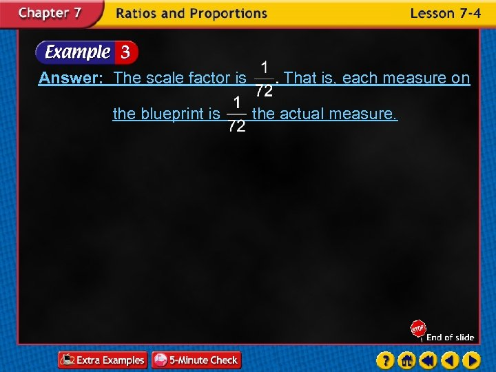 Answer: The scale factor is the blueprint is That is, each measure on the