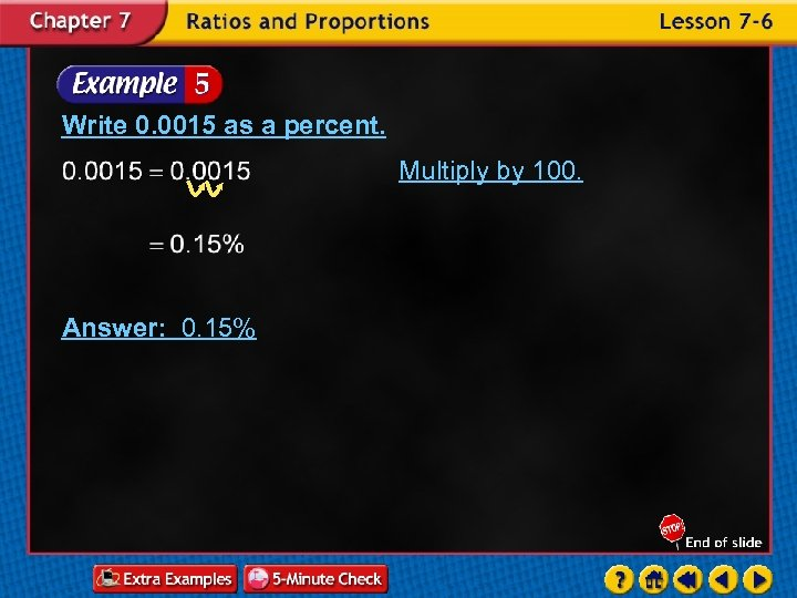 Write 0. 0015 as a percent. Multiply by 100. Answer: 0. 15%