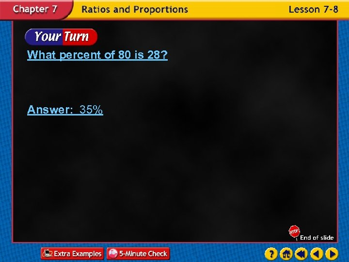 What percent of 80 is 28? Answer: 35%