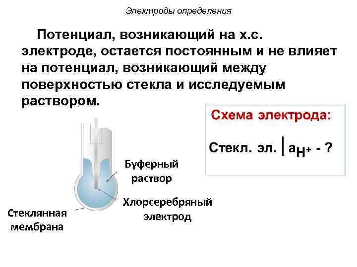 Электроды определения Потенциал, возникающий на х. с. электроде, остается постоянным и не влияет на
