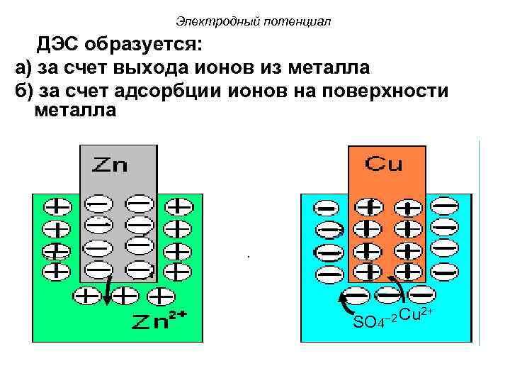 Электродный потенциал ДЭС образуется: а) за счет выхода ионов из металла б) за счет
