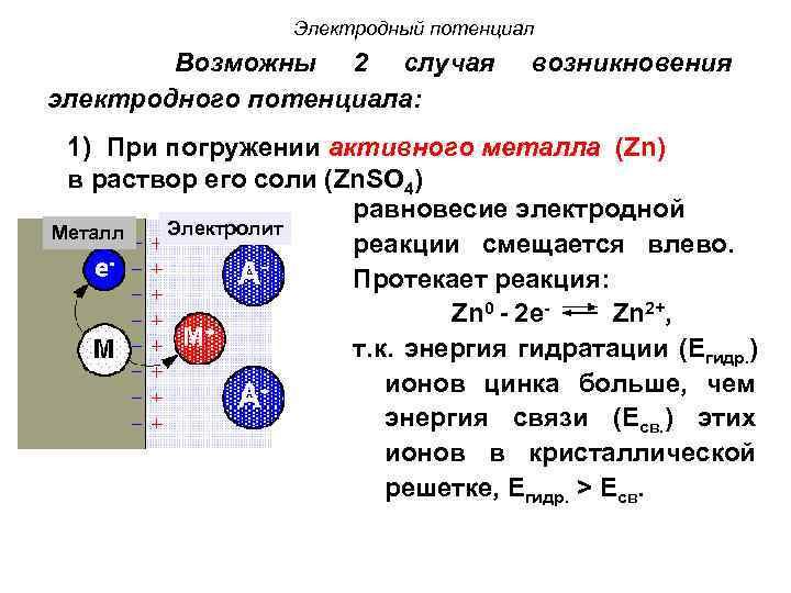 Электродный потенциал Возможны 2 случая электродного потенциала: возникновения 1) При погружении активного металла (Zn)