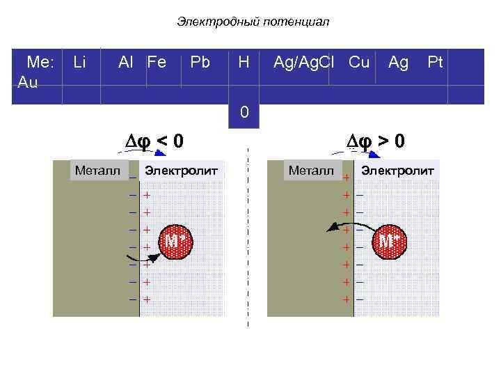 Электродный потенциал Ме: Li Al Fe Pb H Ag/Ag. Cl Cu Ag Pt Au