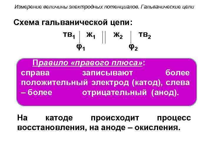 Измерение величины электродных потенциалов. Гальванические цепи Схема гальванической цепи: тв 1 ж 2 тв