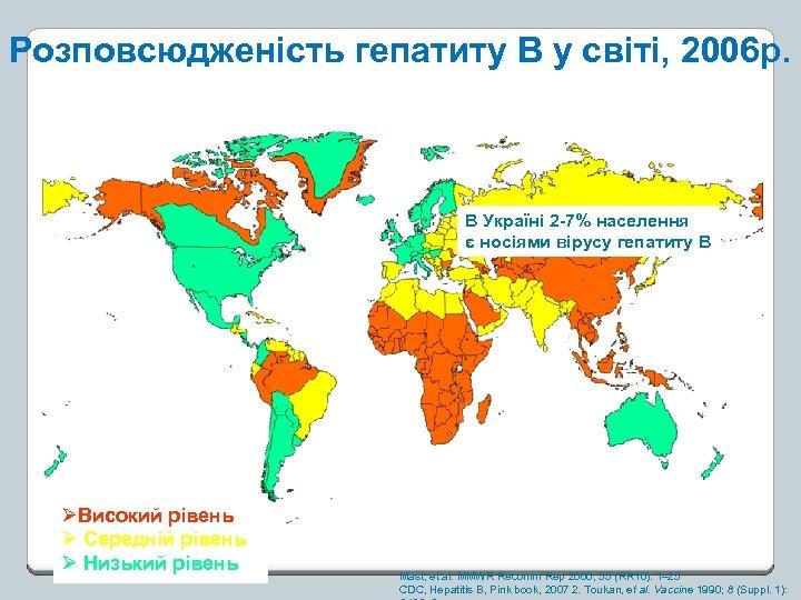 Розповсюдженість гепатиту В у світі, 2006 р. В Україні 2 -7% населення є носіями
