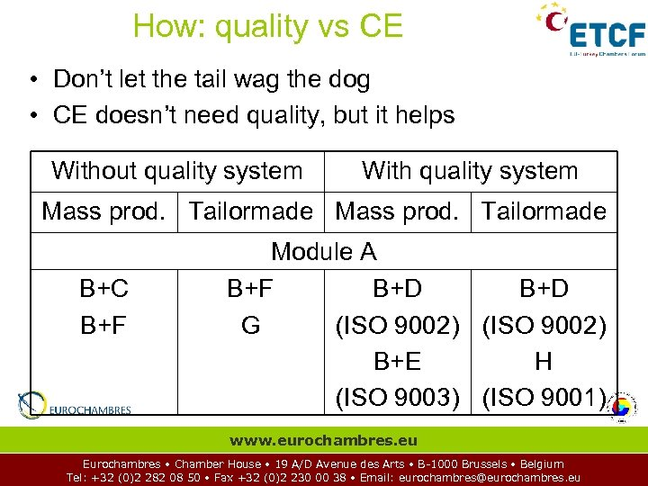 How: quality vs CE • Don't let the tail wag the dog • CE