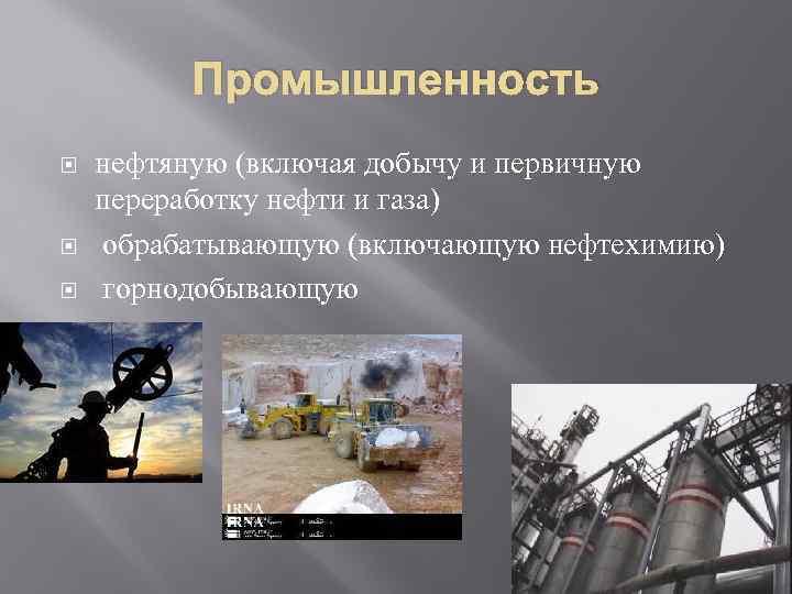 Промышленность нефтяную (включая добычу и первичную переработку нефти и газа) обрабатывающую (включающую нефтехимию) горнодобывающую