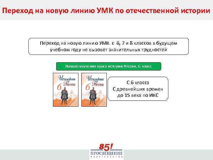 Переход на новую линию УМК по отечественной истории Переход на новую линию УМК с