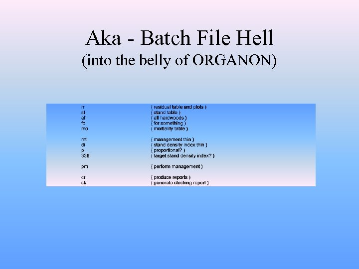 Aka - Batch File Hell (into the belly of ORGANON)