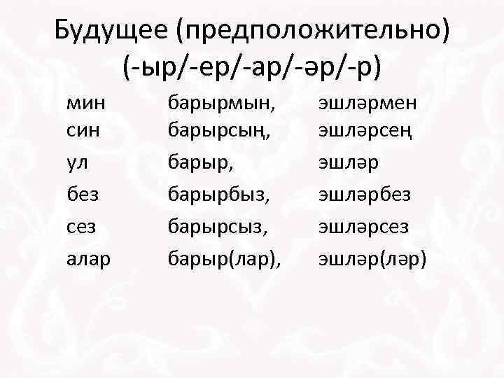 Будущее (предположительно) (-ыр/-ер/-ар/-әр/-р) мин син ул без сез алар барырмын, барырсың, барырбыз, барырсыз, барыр(лар),