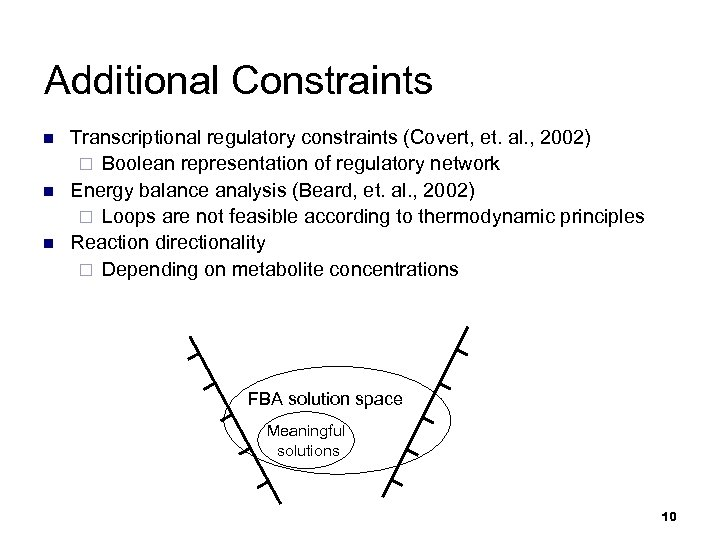 Additional Constraints n n n Transcriptional regulatory constraints (Covert, et. al. , 2002) ¨