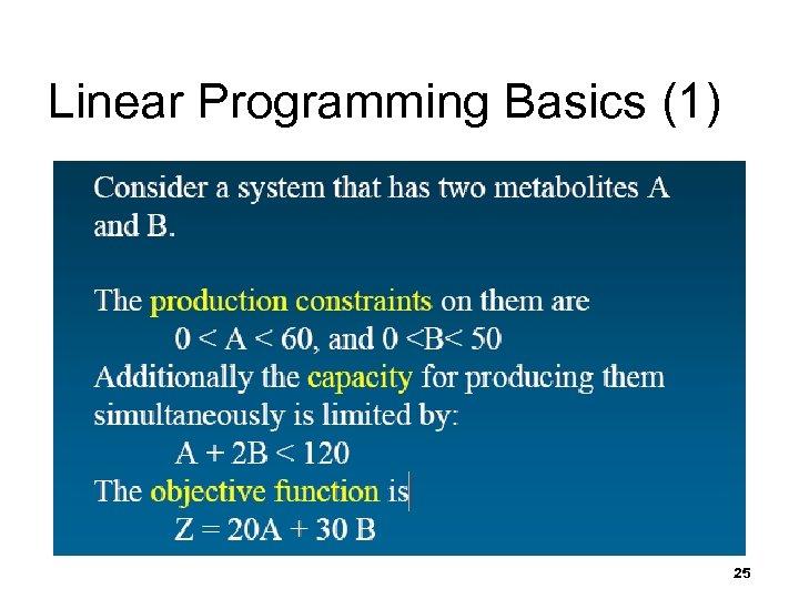 Linear Programming Basics (1) 25