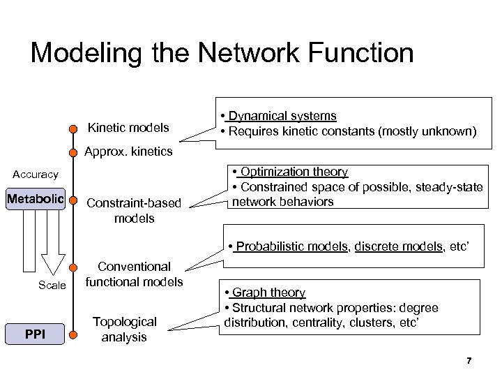 Modeling the Network Function Kinetic models • Dynamical systems • Requires kinetic constants (mostly